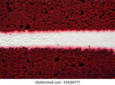 Red velvet cake with white center filling texture