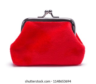 Red Velvet Coin Purse Isolated on White Background.
