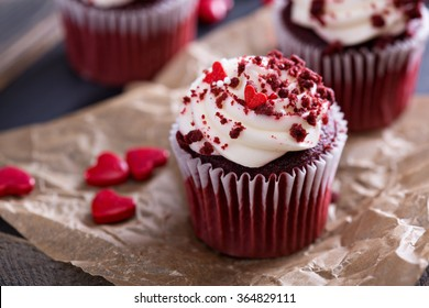 Red velvet cupcakes with decorations for Valentines day