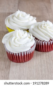 Red Velvet Cupcakes with a white cream cheese icing.