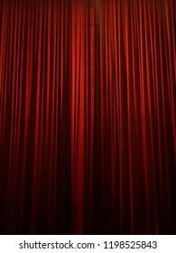 red velvet curtain blind