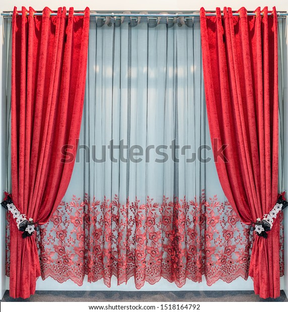 Red Velvet Curtains Clipart | k2151125 | Fotosearch