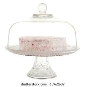 red velvet dessert in a glass cake tray