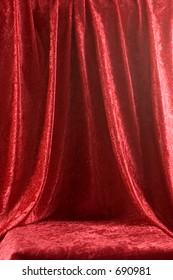 Red velvet draped for backdrop or stage
