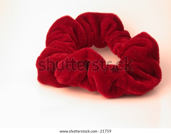 Red Velvet 'hair scrunchy' used to hold a pony tail.