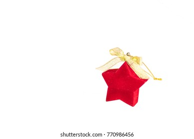 red velvet jewelry box in the shape of a star on a white background