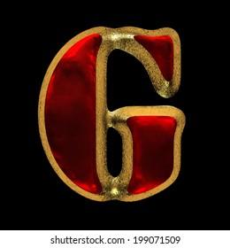 red velvet letter with gold on black background
