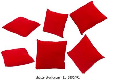 Red velvet pillow isolated on white background