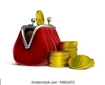 Red velvet purse and gold coins. 3d image. Isolated white background.