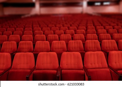 red velvet seats for spectators in the theater or cinema