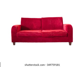 Red velvet sofa for decorate and design project with clipping path.