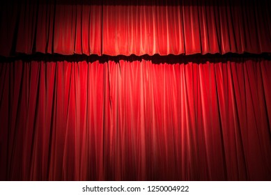Red velvet stage curtain background.