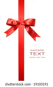 Red vertical gift bow isolated on white background