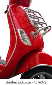 A red vespa is isolated on a white background.