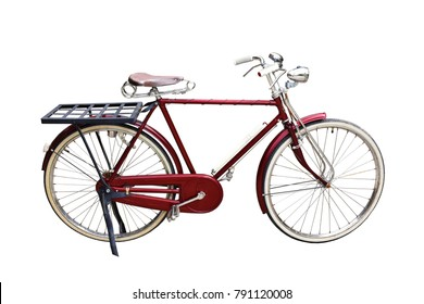 Red vintage bicycle isolate on white background.