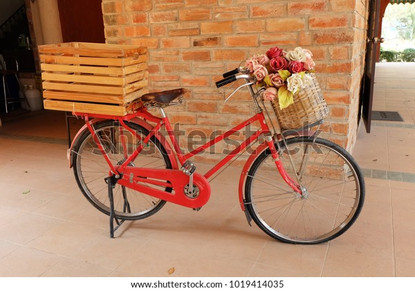 Red Vintage Bike Back Has Wooden Stock Photo Edit Now 1019414035