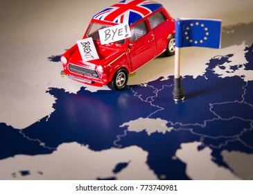 Red vintage car with Union Jack flag and brexit or bye words over an UE map and flag. Symbolizing the Brexit concept.The UK is thus on course to leave the EU on 29 March 2019