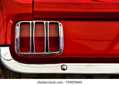 Red vintage classic car rear lights