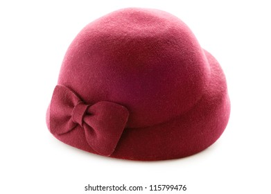 red vintage felt hat isolated on a white background