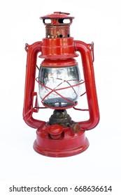 Red vintage mini kerosene lantern with brass handle