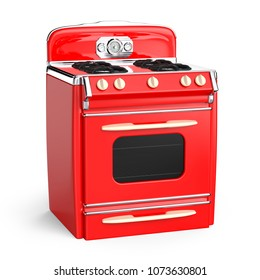 Red vintage retro stove in isolated on white. 3d illustration
