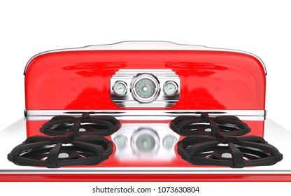 Red vintage retro stove top in isolated on white. 3d illustration