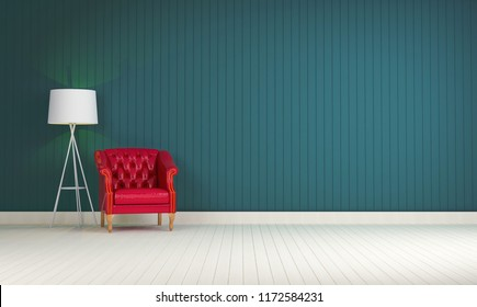red vintage sofa on the room green wall background