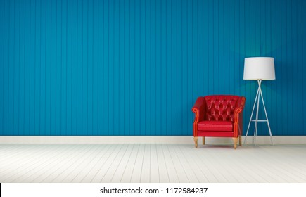 red vintage sofa on the room blue wall background