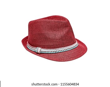 Red vintage straw children hat fasion. Isolated on white.