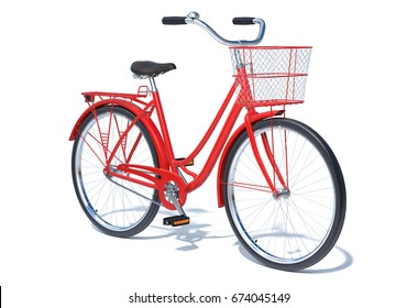 Red Vintage Style Bike with basket isolated on white. 3D illustration