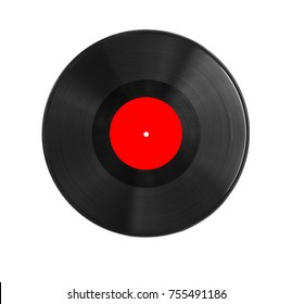 red vinyl record on white background