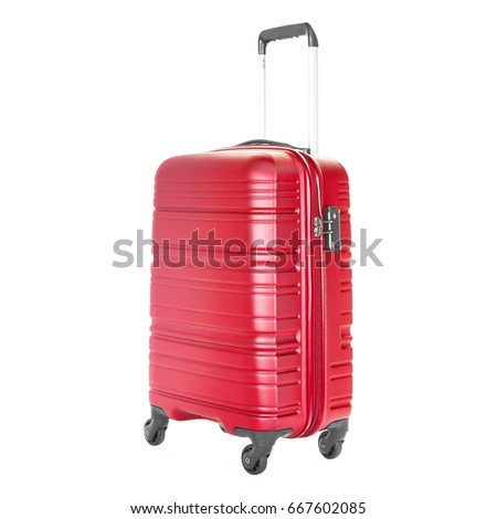 Red Vip Trolley Bag Isolated On Stock Photo Edit Now 667602085