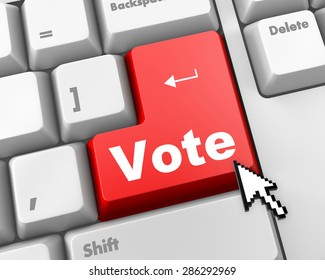 red vote button on computer keyboard showing internet concept