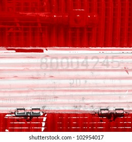 a red wagon. Background with white stripe