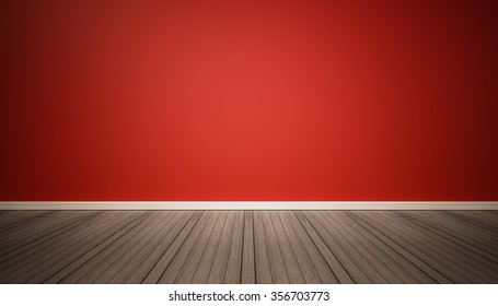 Red wall and dark wood floor