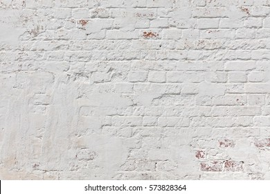 Red Wall Texture. Old White Shabby Brick Wall Horizontal Background. Brickwall Backdrop. White Red Stonewall Surface. Vintage Plastered Wall. Retro Grungy Wall. Brickwork With White Uneven Stucco