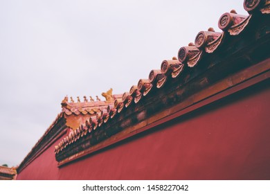 Red wall. Traditional ancient chinese architecture.