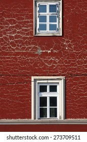 red wall with white window