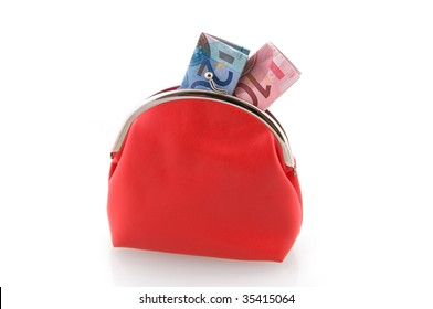 Red wallet with money isolated on white background
