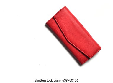Red wallet on a white background. Top view.