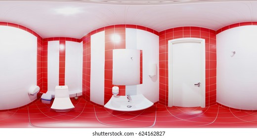 Red walls on a 360 degree panorama inside the water closet Rooms made of red tiles and red tiles.