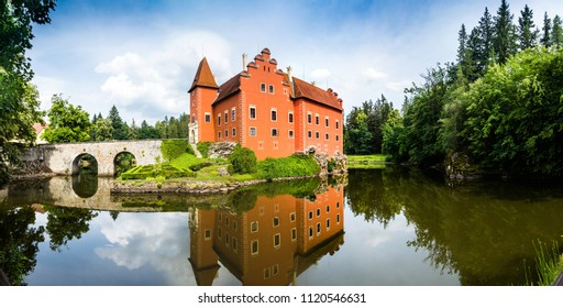 The red, water chateau in the the Czech republic - Cervena Lhota