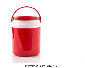 red water cooler on white background