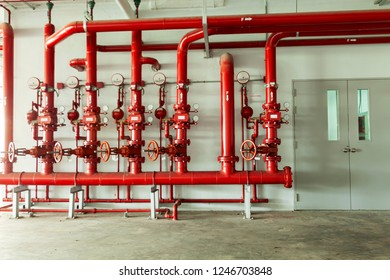 Red water pipe valve,pipe for water piping system control and Fire control system in industrial building or business building.