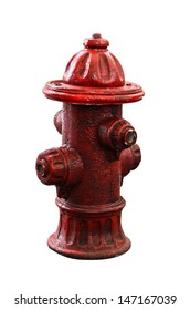 red water pump isolated on white background