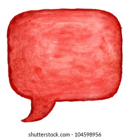 Red watercolor blank speech bubble dialog square shape on white background