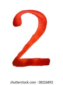 Red watercolor digit 2