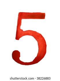 Red watercolor digit 5