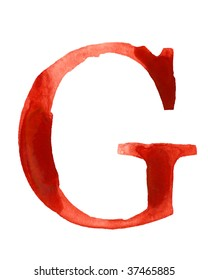 Red watercolor letter G