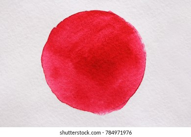 Red Watercolor on white paper. Watercolor drawing.